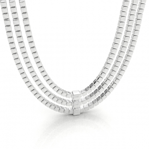 Triple Silver Ice Necklace