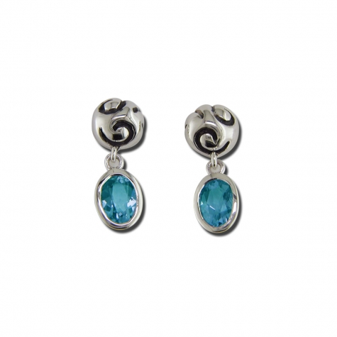 Swirl Drop Earrings with Blue Topaz