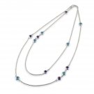 Long Chain with Amethyst and Blue Topaz