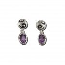 Swirl Drop Earrings with Amethyst