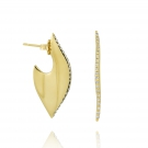 Leaf Slice Earring with Diamonds