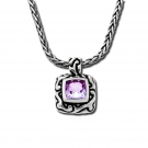 Swirl Square Pendant with Amethyst