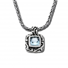 Swirl Square Pendant with Green Amethyst