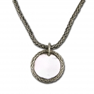Tag Necklace with Woven Chain