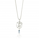 Pendant (Prism Bead With Blue Topaz) .925 Sterling Silver