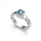 Ice Cube Ring with Blue Topaz